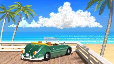 3DCG夏の海と椰子の木と車2