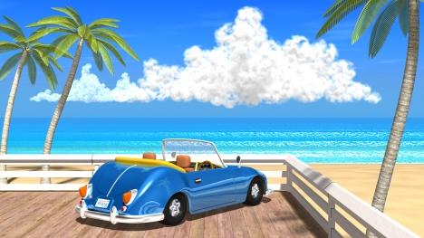 3DCG夏の海と椰子の木と車3