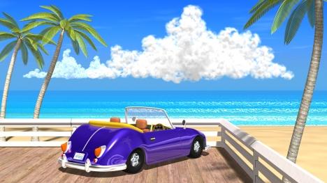 3DCG夏の海と椰子の木と車4