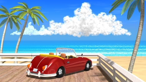3DCG夏の海と椰子の木と車5