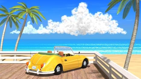 3DCG夏の海と椰子の木と車6