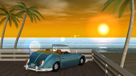 3DCG夏の海と椰子の木と車(夕陽)1