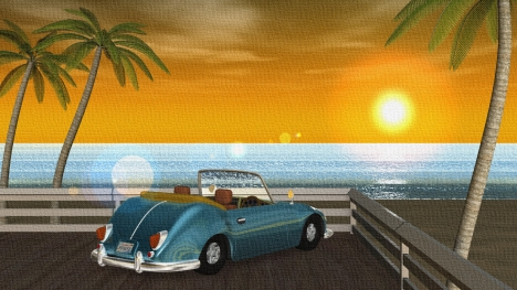 3DCG夏の海と椰子の木と車(夕陽)2
