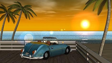3DCG夏の海と椰子の木と車(夕陽)3