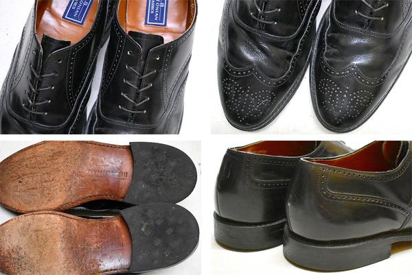 レザーシューズ革靴ウィングチップ黒茶エンジ色メンズレディースコーデ@古着屋カチカチ