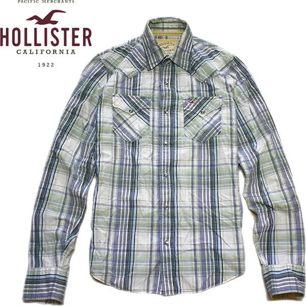ホリスターHOLLISTER長袖チェックシャツ画像アメカジコーデレディースOK@古着屋カチカチ