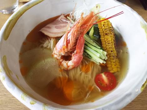 夏野菜と海老の冷しそば