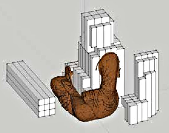 CG を援用した木寄せ設計復元像の木寄せ図