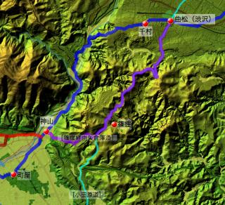曲松からの2種類の矢倉沢往還の道筋
