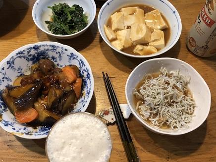 9292018 夕食 茄子しらす豆腐S