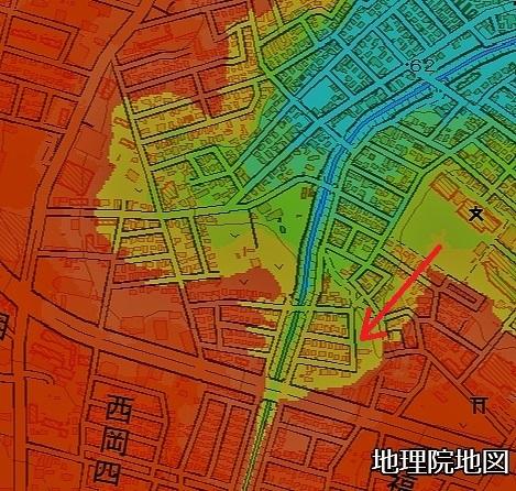地理院地図 色別標高図 西岡5条3丁目タンコブ