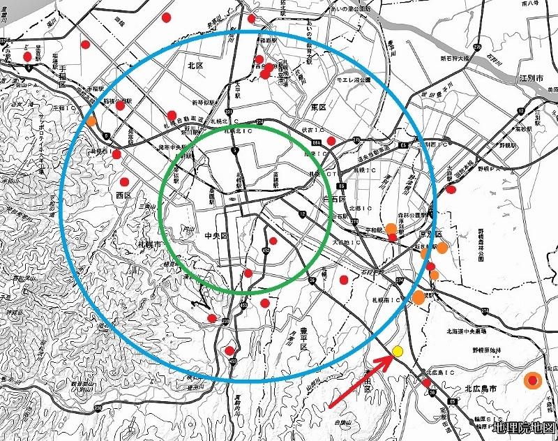 新聞広告にみる宅地分譲地の分布図1970年代後半某年某月