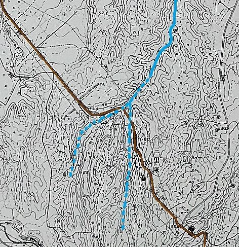 1952年地形図「厚別」 三里川上流