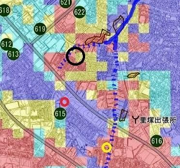 液状化危険度マップ 三里川上流