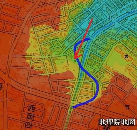 色別標高図 西岡5条 月寒川旧河道
