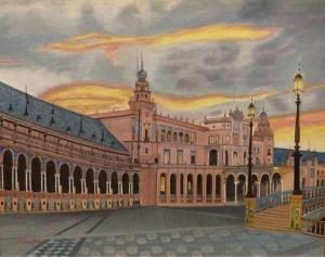朝焼けのスペイン広場