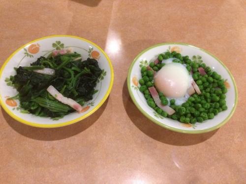 ほうれん草のソテー&柔らか青豆の温サラダ