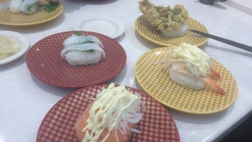 エンガワ・オニオンサーモン・舞茸の天ぷら茶塩・エビアボガド