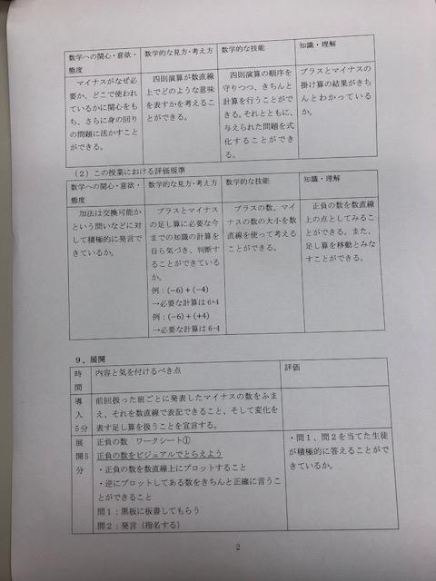 正負の数 指導案 2-2