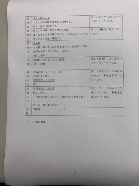 正負の数 指導案 2-3