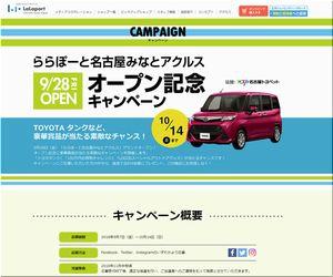 懸賞 ららぽーと名古屋みなとアクルス オープン記念キャンペーン トヨタ タンクが当たる!