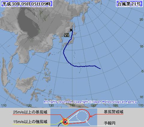 台風進路 全経路 1821-00