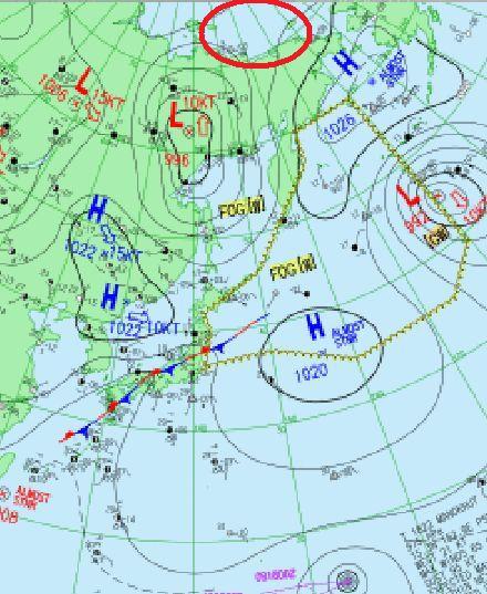 天気図 18090915 拡大