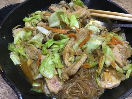 味噌漬け豚肉とキャベツの炒め物