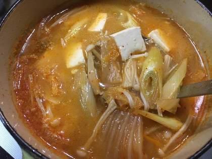 大好きなキムチ入りの味噌汁