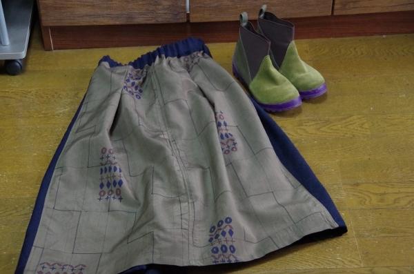 着物リメイク 台形スカート タックスカート パッチワークスカート
