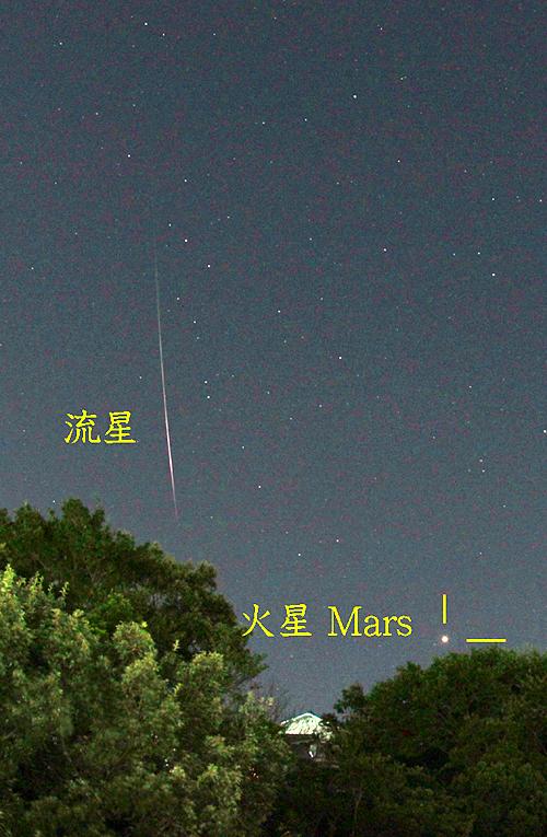 ペルセウス座流星群と火星(20180813)