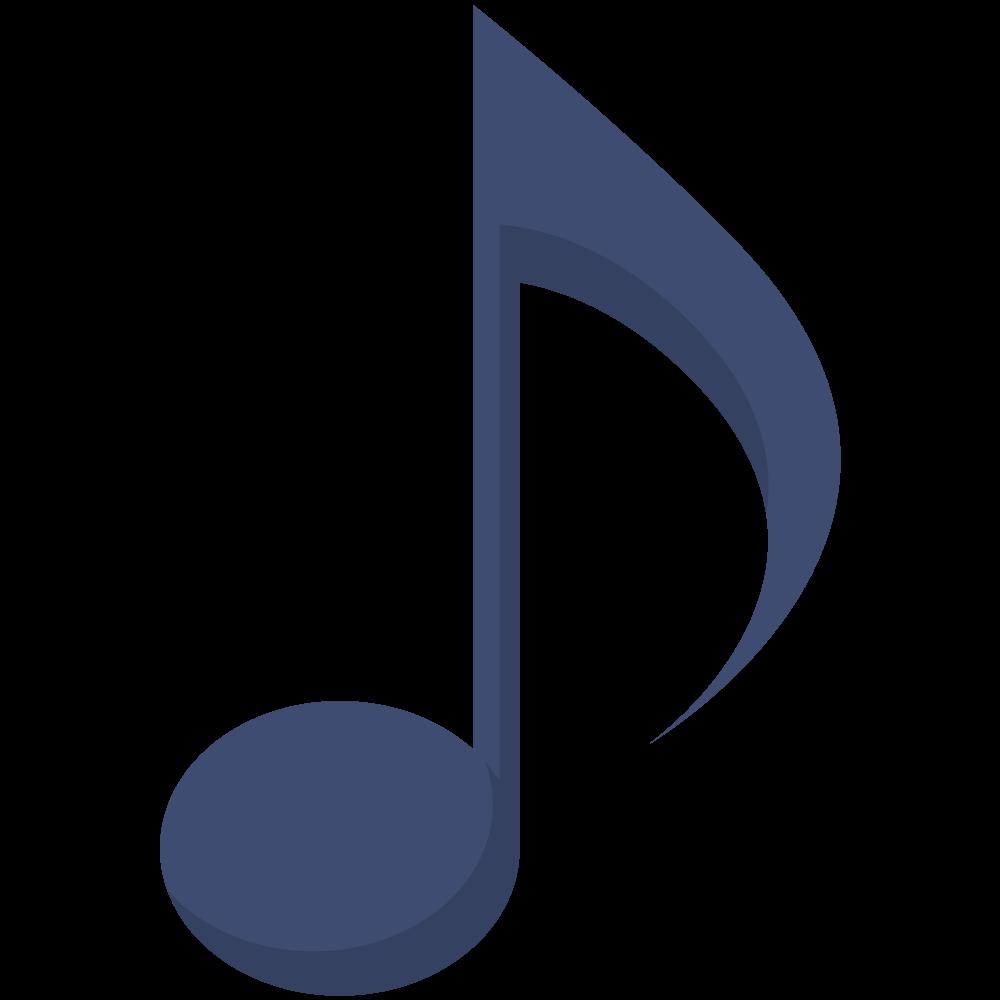 シンプルでフラットな八分音符のイラスト