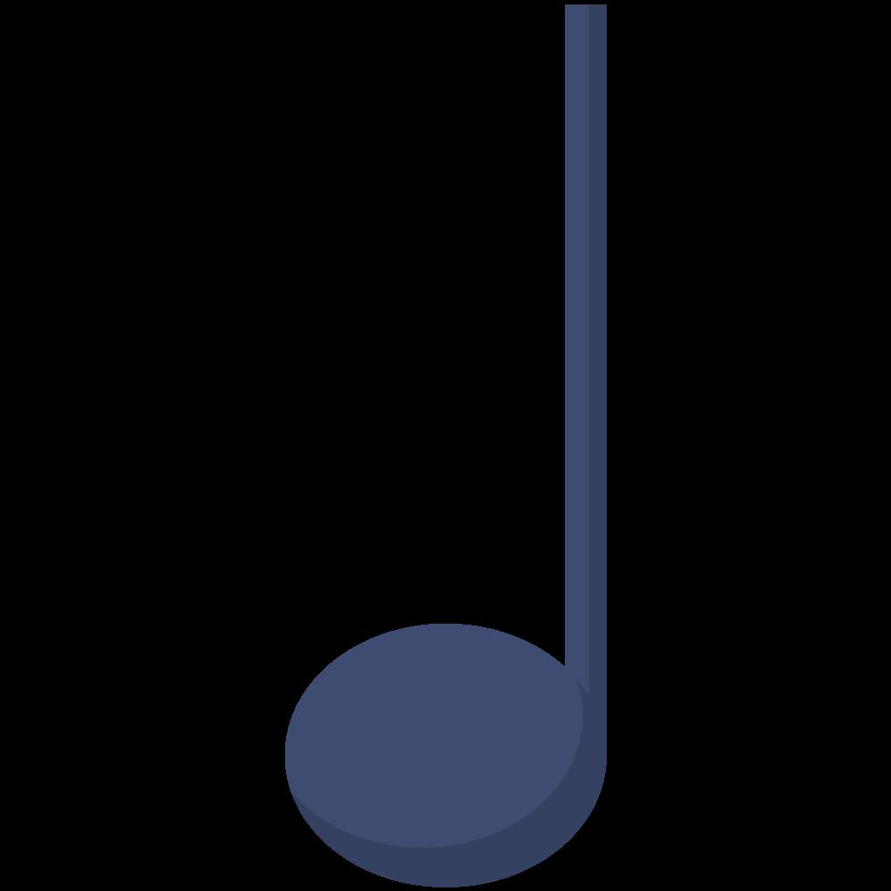 シンプルでフラットな四分音符のイラスト