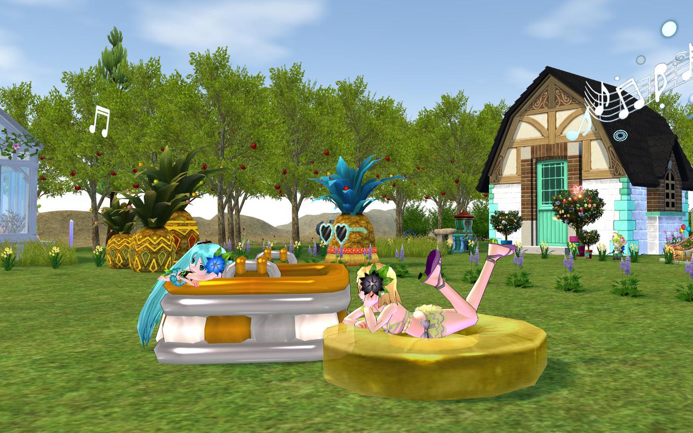 キッズプールとパイナップル浮き輪2