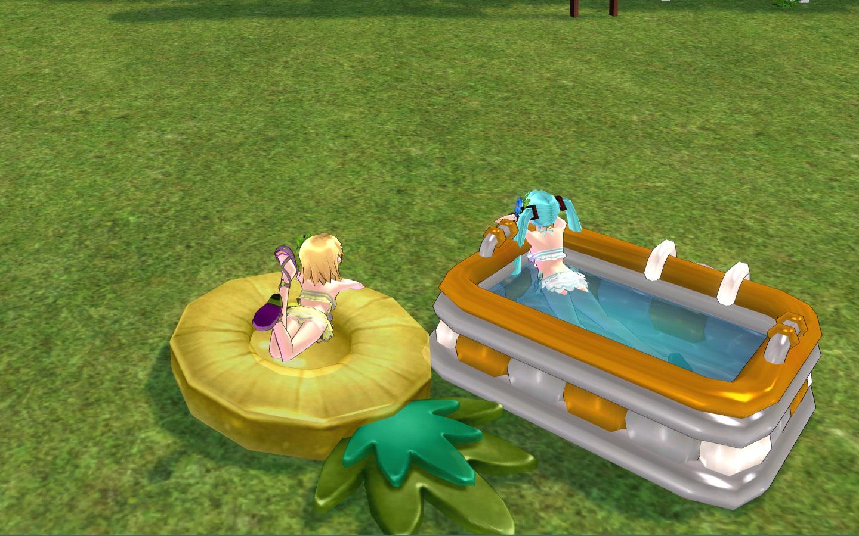 キッズプールとパイナップル浮き輪3