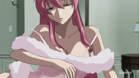 ガンダムSEED DESTINY HDリマスター版 ミーア・キャンベルの夜這いシーン透けネグリジェ胸裸ヌード46