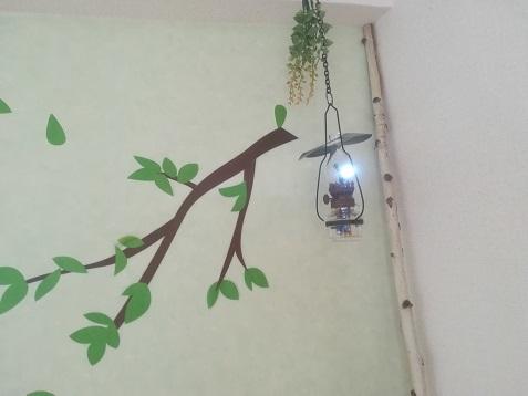 5 LEDの照明回路 点灯試験 壁に取り付け