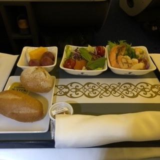 エジプト航空ビジネスクラス夕食
