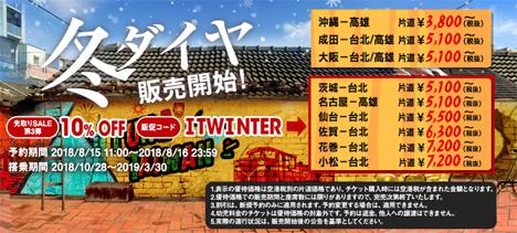 タイガーエア台湾は、台北・高雄線が5,100円~の「先取りSALE第3弾」を販売、最安値路線は3,800円~!のコピー