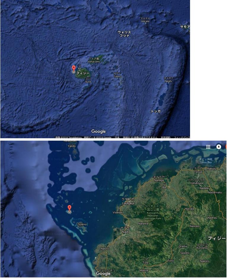 20180831 御神事 フィジーとマーナー島の位置