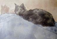 グエン・ジョン 青とバラ色の上のネコnekosyou