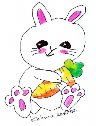 01a 500 20180812 Koharu with carrot drawn
