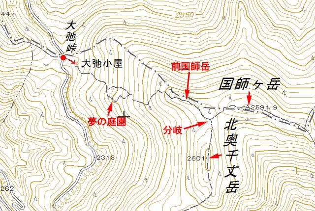 北奥千丈岳地図