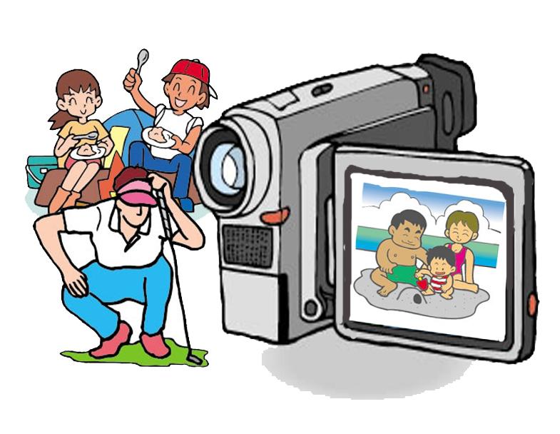 ビデオカメラと人物のコピー