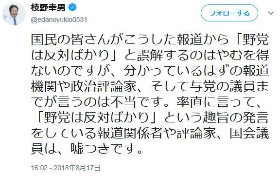 立憲民主・枝野代表「『野党は反対ばかり』という趣旨の発言をしている報道関係者や評論家、国会議員は全員嘘つきだ。立憲民主党は国会で審議される法案の約8割に賛成している」