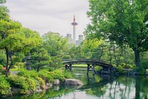 侵雪橋の向こうに京都タワー