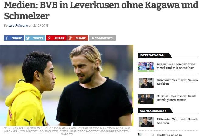 BVB in Leverkusen ohne Kagawa und Schmelzer