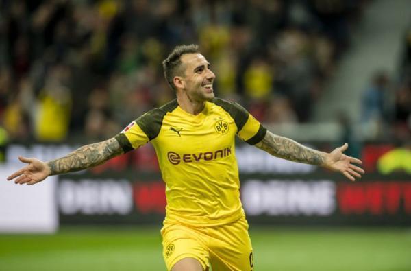 Paco Alcácer freekick goal Dortmund 4-3 Augsburg