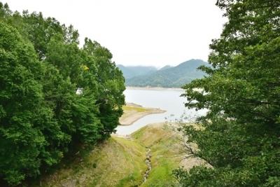 三の沢橋梁から眺める糠平湖岸