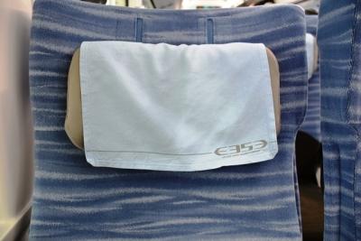 可動式枕・枕カバーにもE353系ロゴマーク